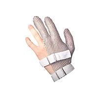 Кольчужная перчатка 3х палая короткая NIROFLEX FM PLUS размер S до запястья с текстильным ремешком