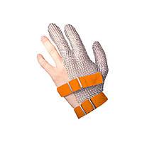 Кольчужная защитная перчатка трехпалая NIROFLEX FM PLUS размер XL до запястья крепление текстильными лентами