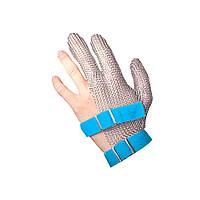 Кольчужная перчатка 3х палая для разделки мяса и устриц NIROFLEX FM PLUS размер L до запястья с ремешком