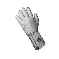 Кольчужная перчатка защитная 5палая для разделки мяса и устриц NIROFLEX 2000 размер L высота манжета 15 см