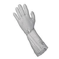 Кольчужная перчатка 5палая защитная для разделки мяса и устриц NIROFLEX 2000 размер L высота манжета 19 см