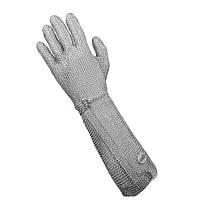 Профессиональная кольчужная перчатка 5палая для мяса и устриц NIROFLEX 2000 размер L с высоким манжетом 22 см