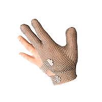 Кольчужная защитная перчатка 3х палая для разделки мяса и устриц NIROFLEX 2000 металл размер L до запястья