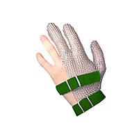 Профессиональные кольчужные рукавицы трехпалые NIROFLEX FM PLUS размер XS до запястья с текстильным ремешком