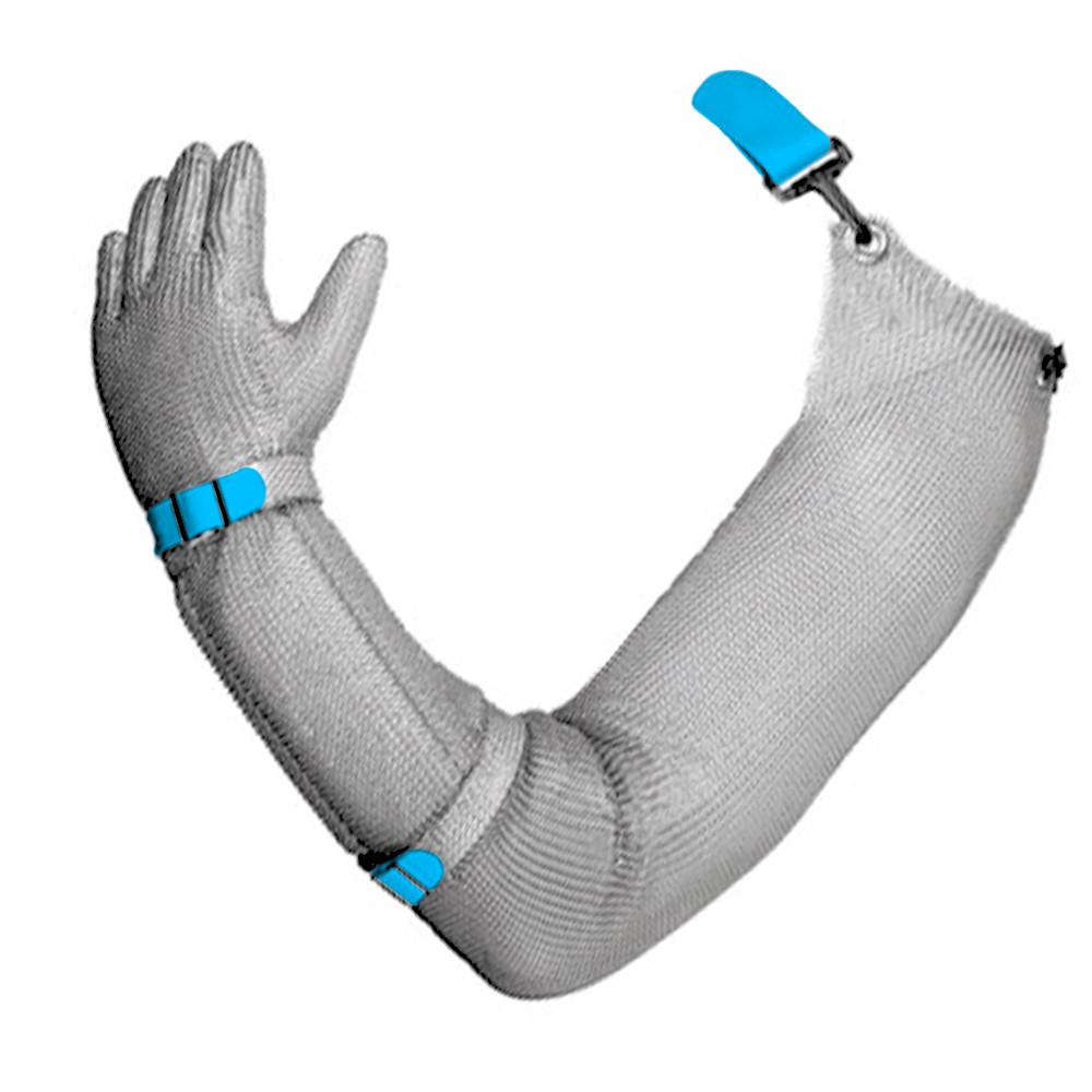Кольчужна рукавиця на всю руку пятипалая сталева c еластичним пластиковим ремінцем NIROFLEX EasyFit розмір L