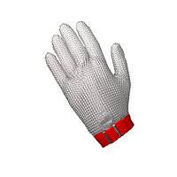 Профессиональная кольчужная перчатка 5палая для разделки мяса NIROFLEX FM PLUS размер M до запястья с ремешком