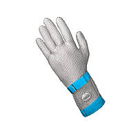 Кольчужная перчатка 5палая для разделки мяса и устриц NIROFLEX FM PLUS размер L с отворотом 7,5 см и ремешком
