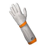 Защитные кольчужные перчатки мясника пятипалые NIROFLEX FM PLUS размер XL манжет 19 см с текстильным ремешком