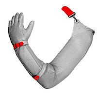 Кольчужная перчатка на всю руку пятипалая стальная c эластичным пластиковым ремешком NIROFLEX EasyFit размер М