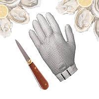 Набор для открывания устриц с перчаткой кольчужной и ножом в подарок