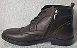 TODS реплика! мужские броги оксфорд на шнуровке натуральная кожа коричневые ботинки Зимние, фото 2