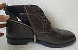 TODS реплика! мужские броги оксфорд на шнуровке натуральная кожа коричневые ботинки Зимние, фото 3
