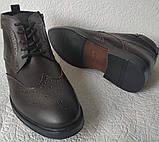 TODS реплика! мужские броги оксфорд на шнуровке натуральная кожа коричневые ботинки Зимние, фото 4