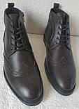 TODS реплика! мужские броги оксфорд на шнуровке натуральная кожа коричневые ботинки Зимние, фото 7