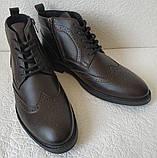 TODS реплика! мужские броги оксфорд на шнуровке натуральная кожа коричневые ботинки Зимние, фото 8
