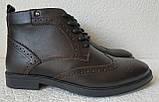 TODS реплика! мужские броги оксфорд на шнуровке натуральная кожа коричневые ботинки Зимние, фото 9