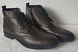 TODS реплика! мужские броги оксфорд на шнуровке натуральная кожа коричневые ботинки Зимние, фото 10