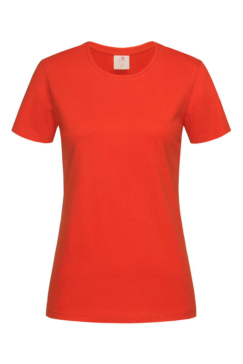 Футболка Stedman Classic Women женская хлопковая 155 г/м2 красно-оранжевая, XS-XXL