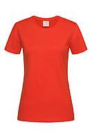 Футболка Stedman Classic Women женская хлопковая 155 г/м2 красно-оранжевая, XS-XXL, фото 1