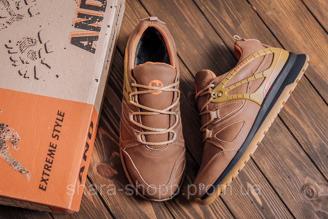 Мужские зимние кожаные кроссовки MERRELL vlbram Olive Зимние мужские кроссовки