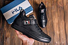 Повседневные кроссовки мужские зимние на меху Мужские зимние кожаные ботинки FILA Black, фото 7