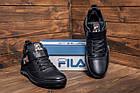 Повседневные кроссовки мужские зимние на меху Мужские зимние кожаные ботинки FILA Black, фото 10