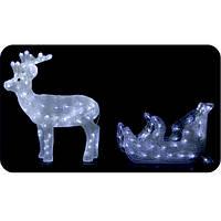 Новогодний светящиеся олень с санями. Светодиодная фигура