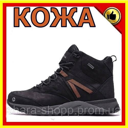 Зимнее кожаные ботинки мужские Мужские зимние кожаные ботинки MERRELL Black