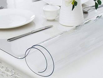 Силиконовая скатерть Мягкое стекло Soft Glass Покрытие для мебели 1.2х1.4м (толщина 0.4мм) Прозрачная