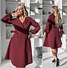 Однотонне жіноча сукня бордове з імітацією запаху ТК/-62219