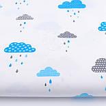 """Клапоть тканини """"Хмари з дощиком"""" блакитного кольору №846, розмір 40*40, фото 2"""
