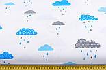 """Клапоть тканини """"Хмари з дощиком"""" блакитного кольору №846, розмір 40*40, фото 3"""