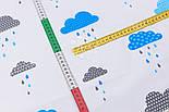 """Клапоть тканини """"Хмари з дощиком"""" блакитного кольору №846, розмір 40*40, фото 4"""