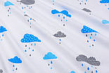 """Клапоть тканини """"Хмари з дощиком"""" блакитного кольору №846, розмір 40*40, фото 5"""