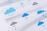 """Клапоть тканини """"Хмари з дощиком"""" блакитного кольору №846, розмір 40*40, фото 6"""
