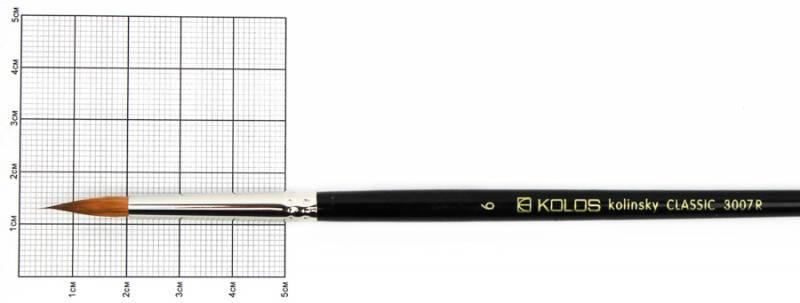 Кисть колонок Rosa Classic 3007R Kolos круглая №6 кор. ручка (4823064900637)
