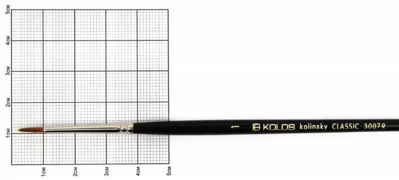 Кисть колонок Rosa Classic 3007R Kolos круглая №1 кор. ручка (4823064900583)