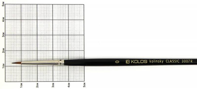 Кисть колонок Rosa Classic 3007R Kolos круглая №0 кор. ручка (4823064900576)