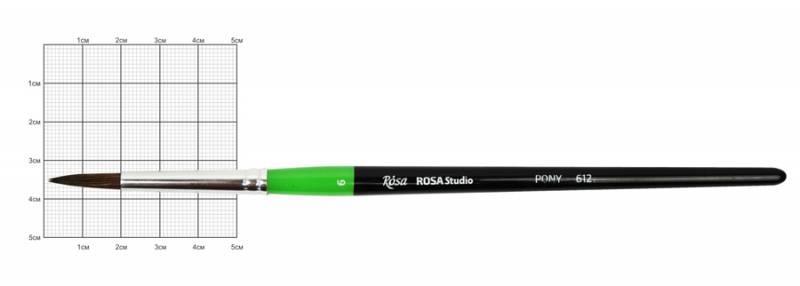 Кисть пони Rosa 612 круглая №6 кор. ручка (4823086700215)