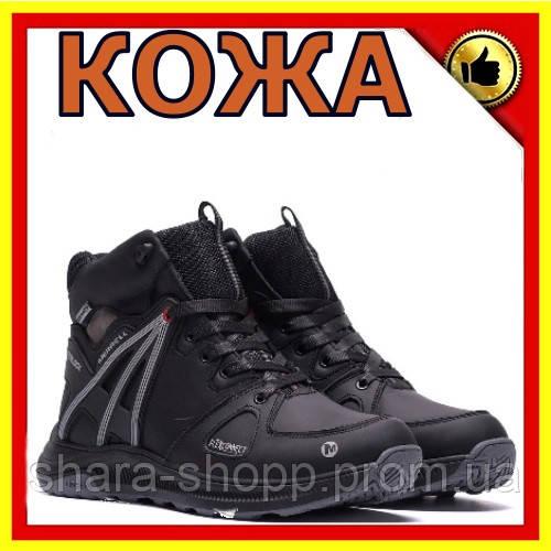 Зимнее кожаные ботинки мужские MERRELL SLAB  Black Ботинки мужские зима