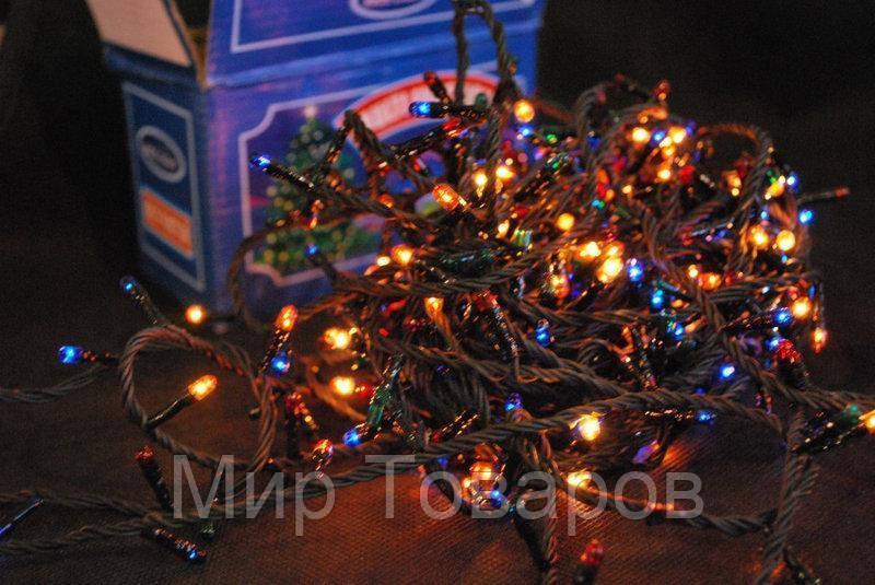 Новогодняя гирлянда 100 лампочек на черном проводе