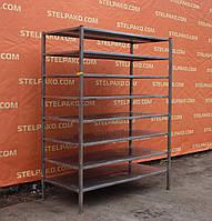 Производственный стеллаж из нержавеющей стали, универсальный, на 8 полок, 140х66х180 см., Б/у, фото 1