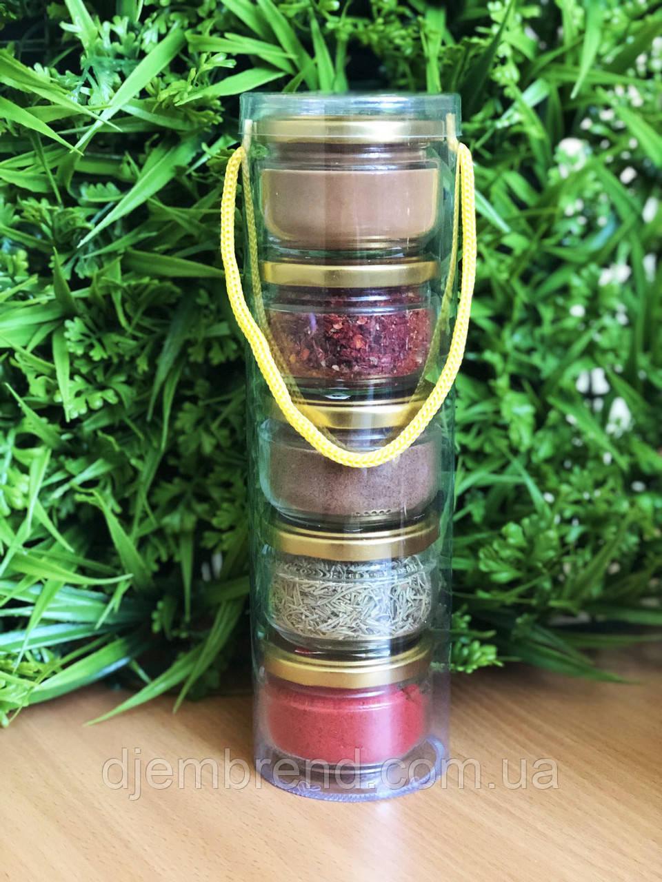 Подарунковий набір спецій : мускатний горіх, кориця, для м'яса, розмарин, паприка солодка червона