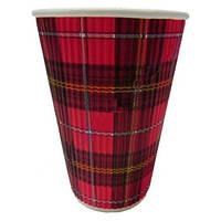 Стакан бумажный гофра прямая 330мл 20шт Шотландка красная