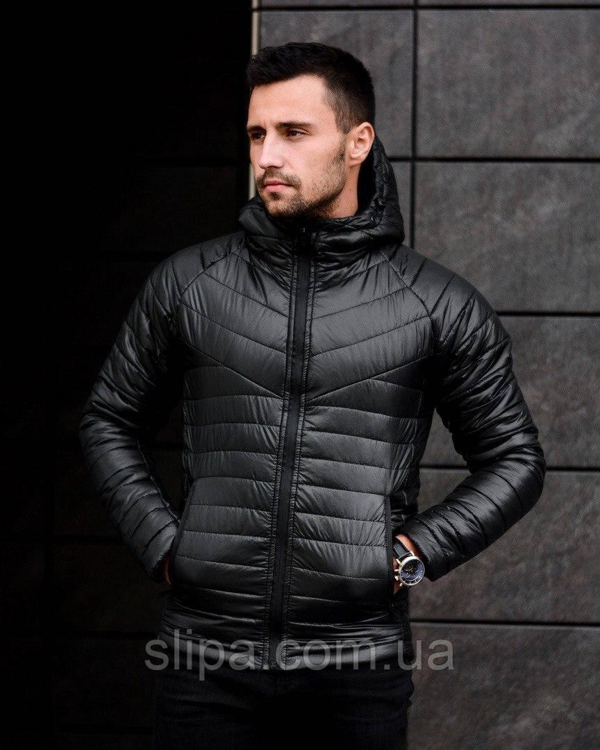 Мужская зимняя куртка из плащёвки чёрная ( синтепон, до -20С )