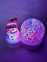 Диско лампа-Снеговик, светодиодная, праздничное освещение