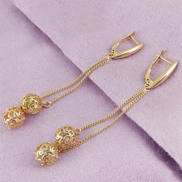 Серьги подвески Xuping медицинское золото позолота 18К английский замок А/В 1-0295