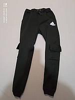 Черные теплые  спортивные штаны для  мальчика 134, , 146, рост