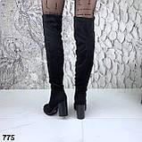 Женские зимние ботфорты сапоги на каблуке эко замш, фото 3