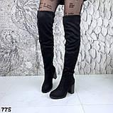 Женские зимние ботфорты сапоги на каблуке эко замш, фото 6